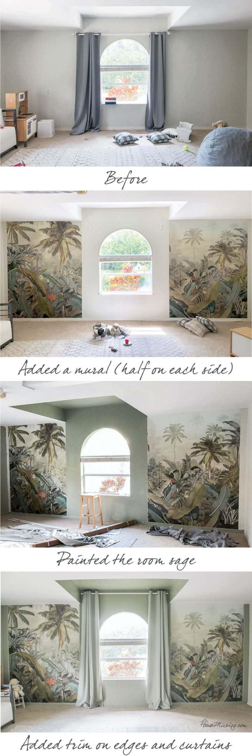 Sage playroom with palm tropical mural - before, progress and after shots