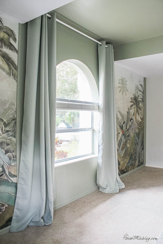 Sage playroom with tropical jungle mural, sage curtains, Amazonia mural, Benjamin Moore sage wisdom paint color