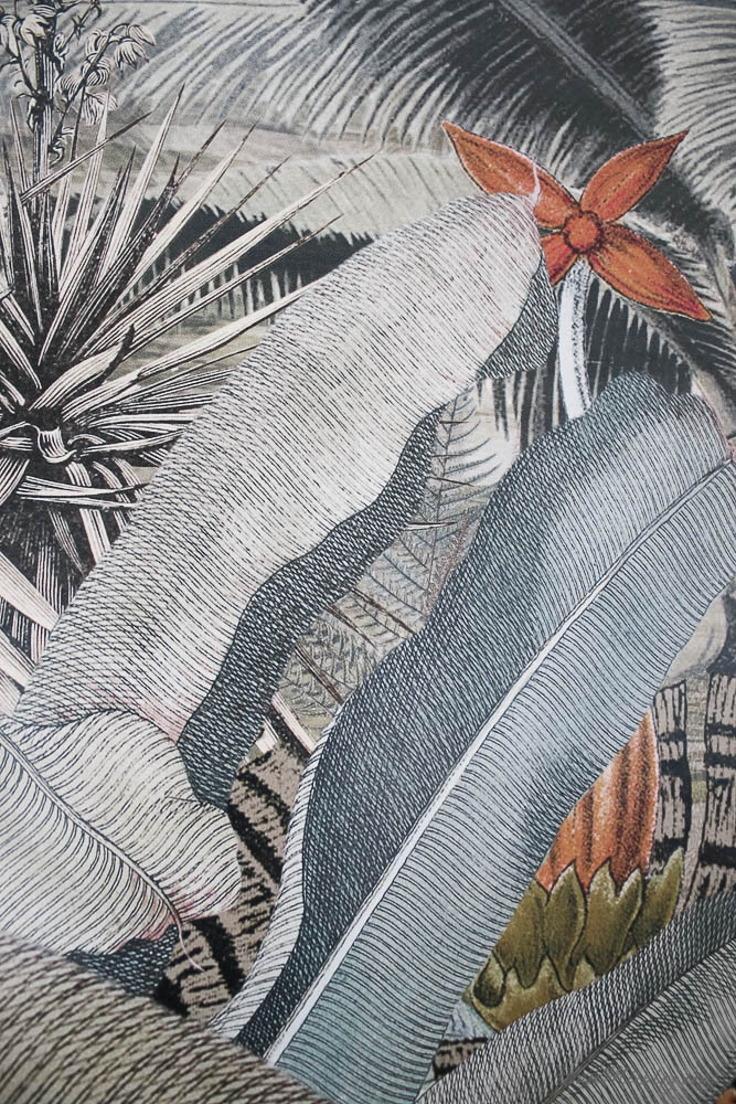 Amazonia tropical mural $130 with sage colors and gray and coral accents