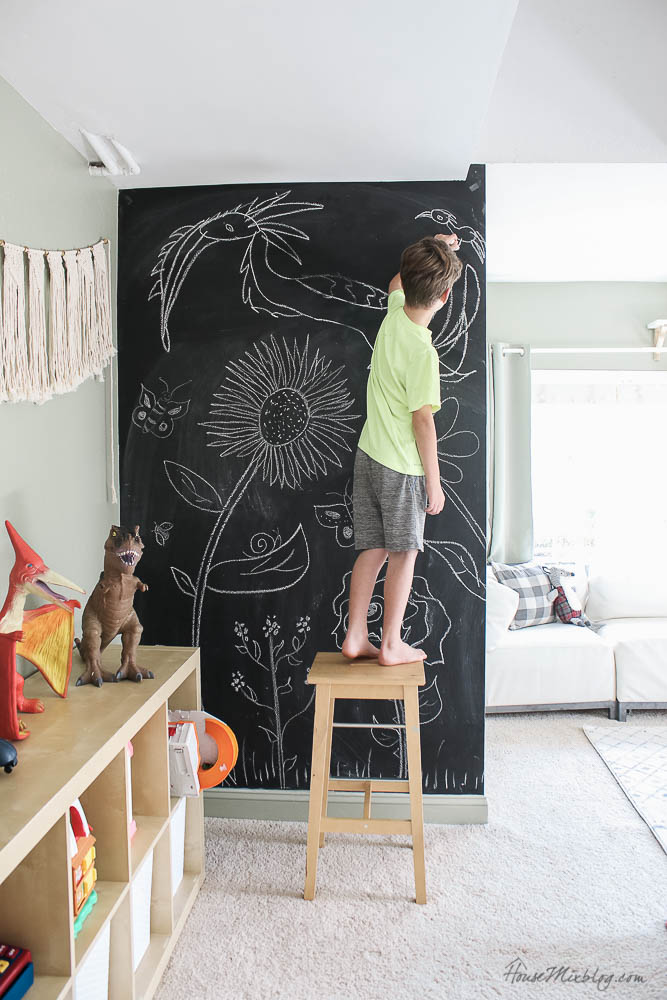 $10 chalkboard wall in sage playroom