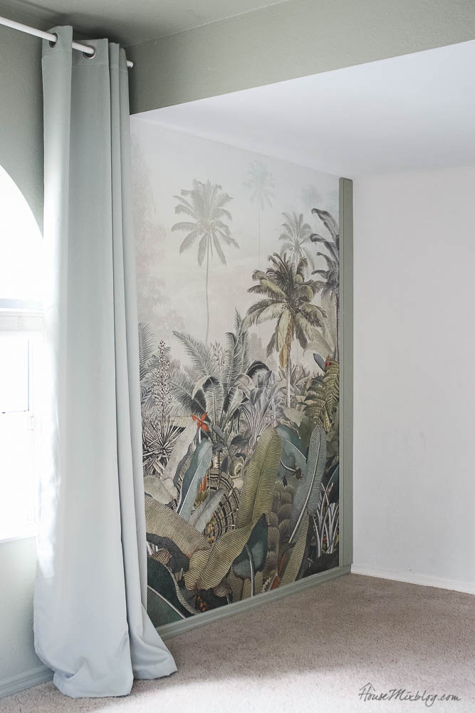 Sage playroom with tropical jungle mural, sage curtains, Amazonia mural