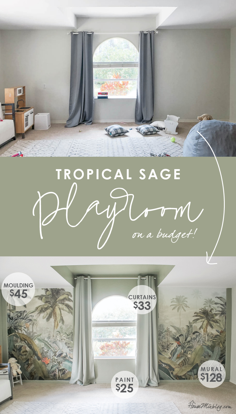 Sage playroom with tropical mural on a budget