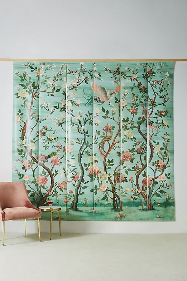 garden chinoiserie with greens and pinks
