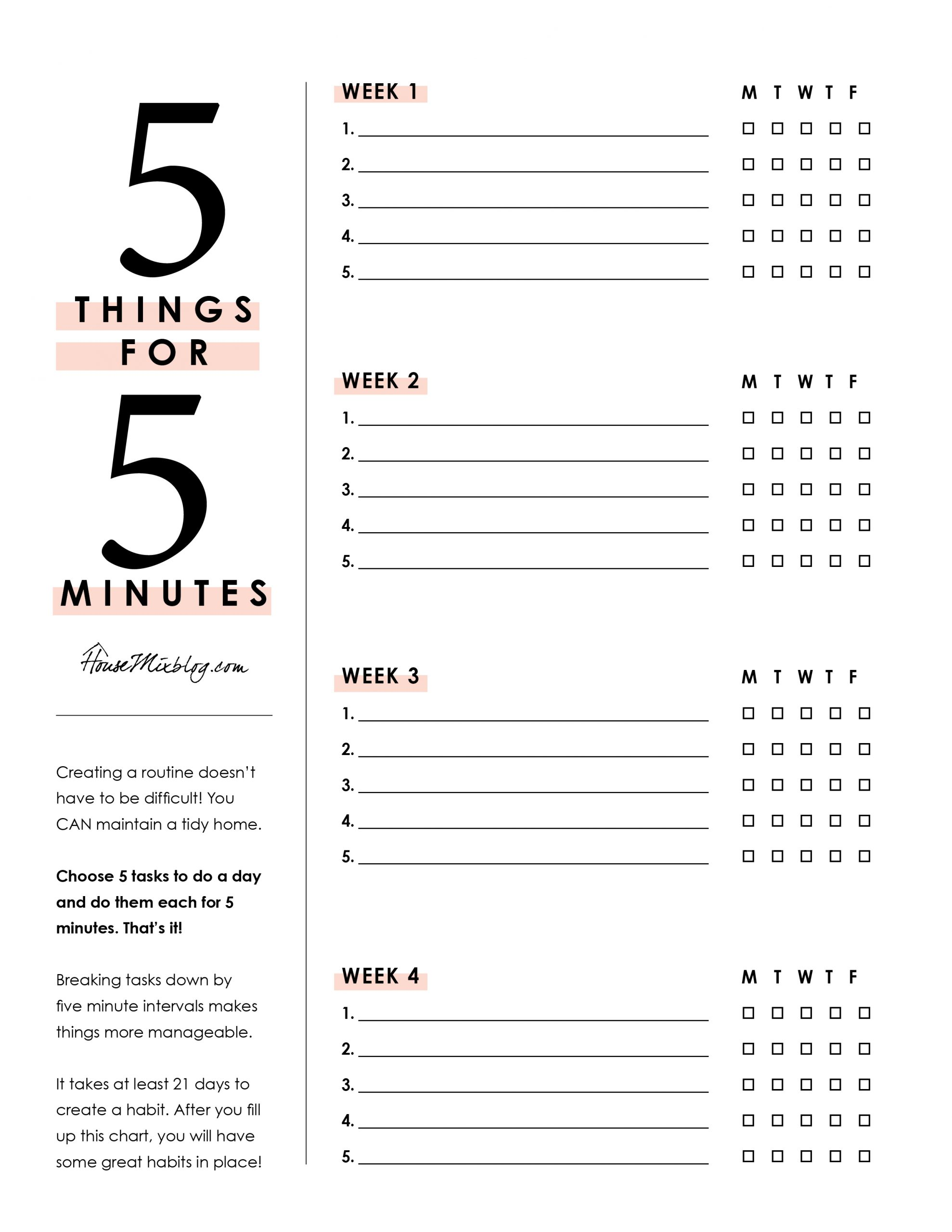 5 things for 5 minutes weekly printable - chores, checklist, routine, cleaning, organizing