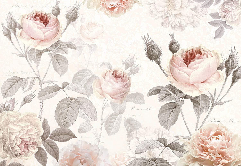 Pink roses mural - vintage