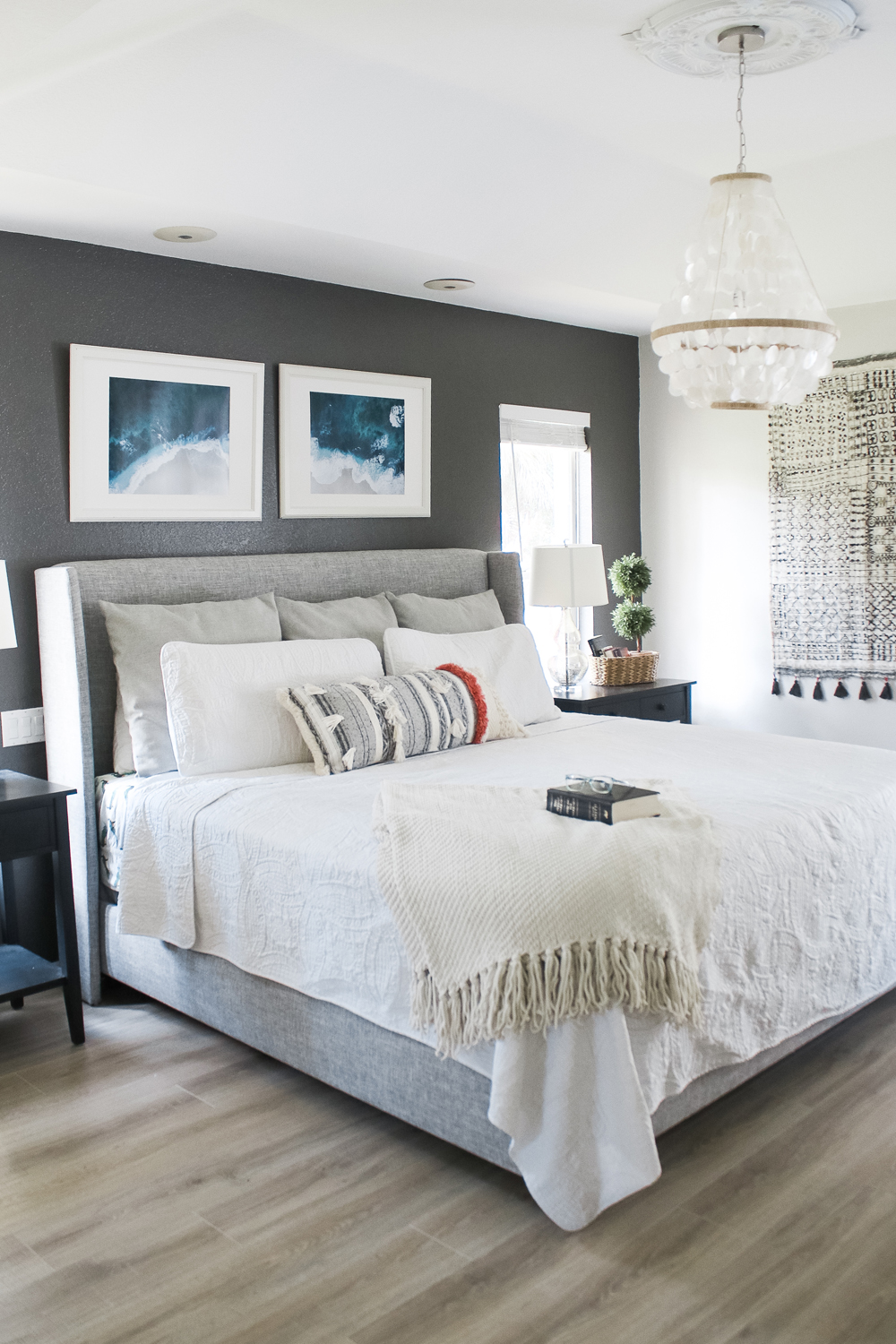 bedroom dark accent wall- kendal charcoal