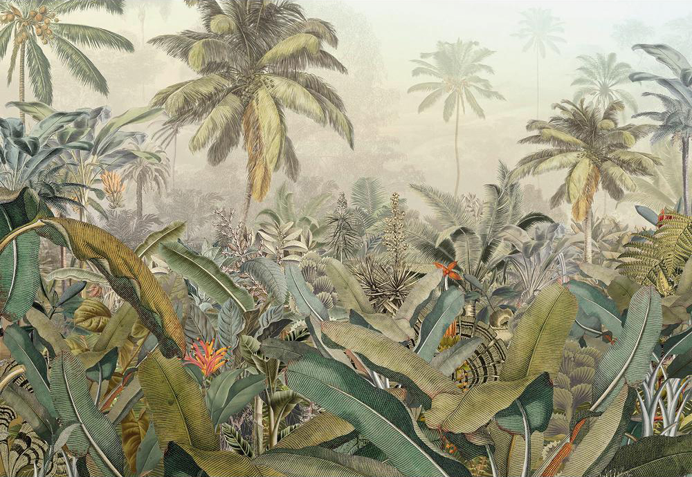 jungle palm mural with sage green and coral pop