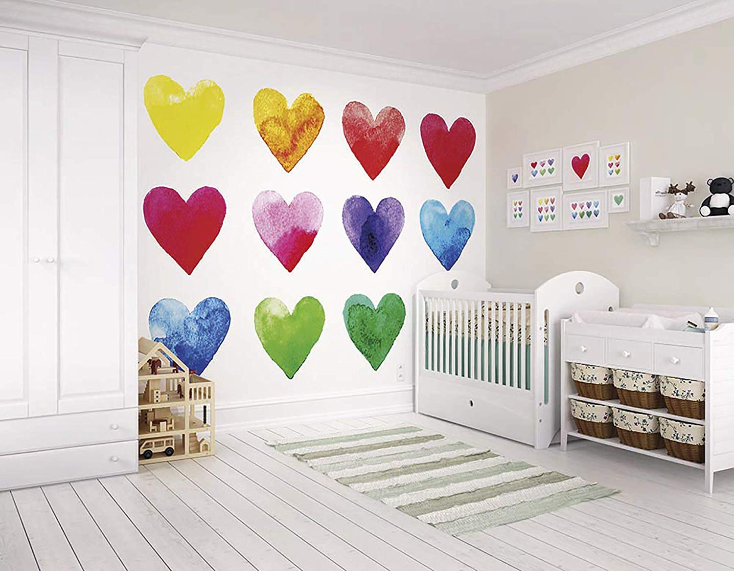 $73 watercolor rainbow hearts wallpaper mural