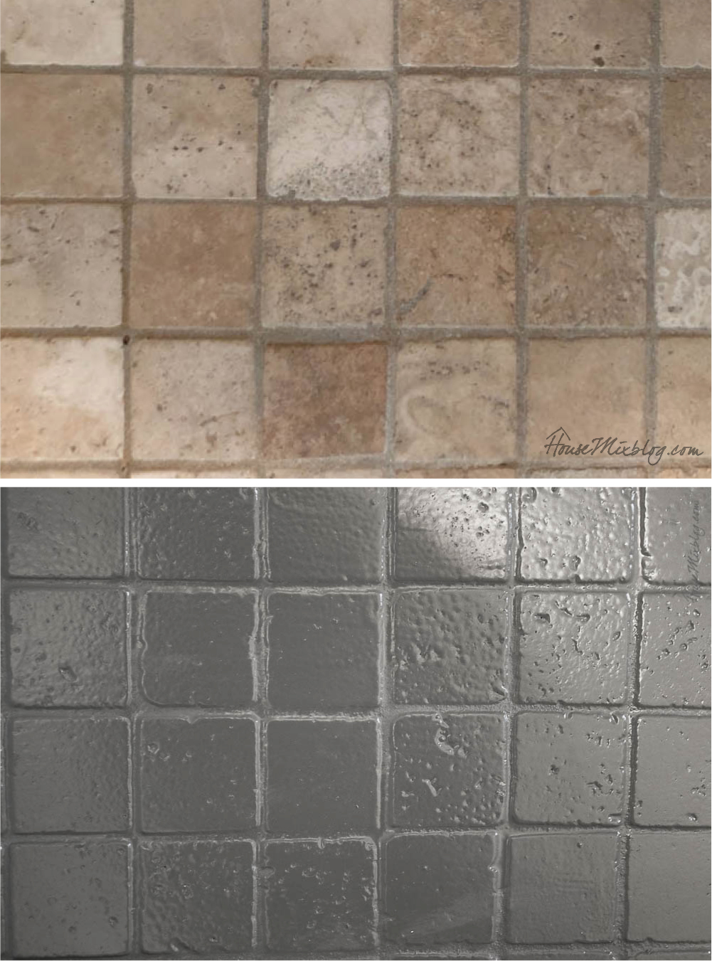 Before and after painted shower floor tile