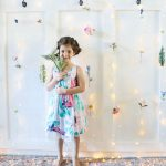 Flower backdrop with twinkle lights