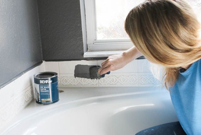 How to paint tile backsplash and plastic bathtub side panel - bathroom refresh ideas