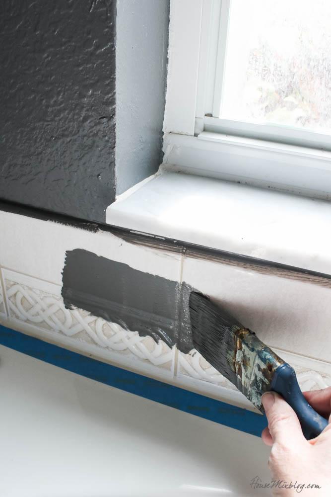 How to paint tile backsplash and plastic bathtub side panel - bathroom refresh ideas