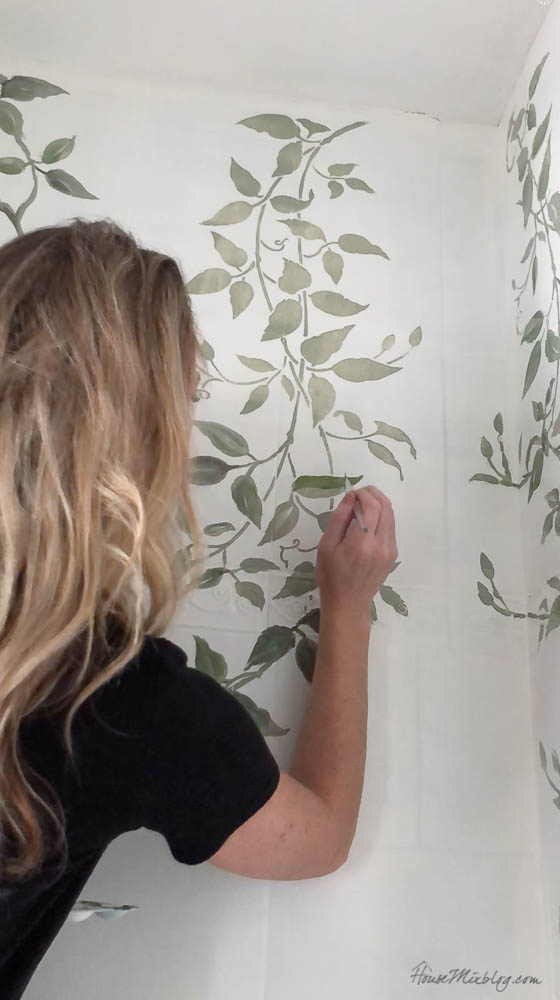 How to stencil on shower tile - handpainting leaves and vines over stencil