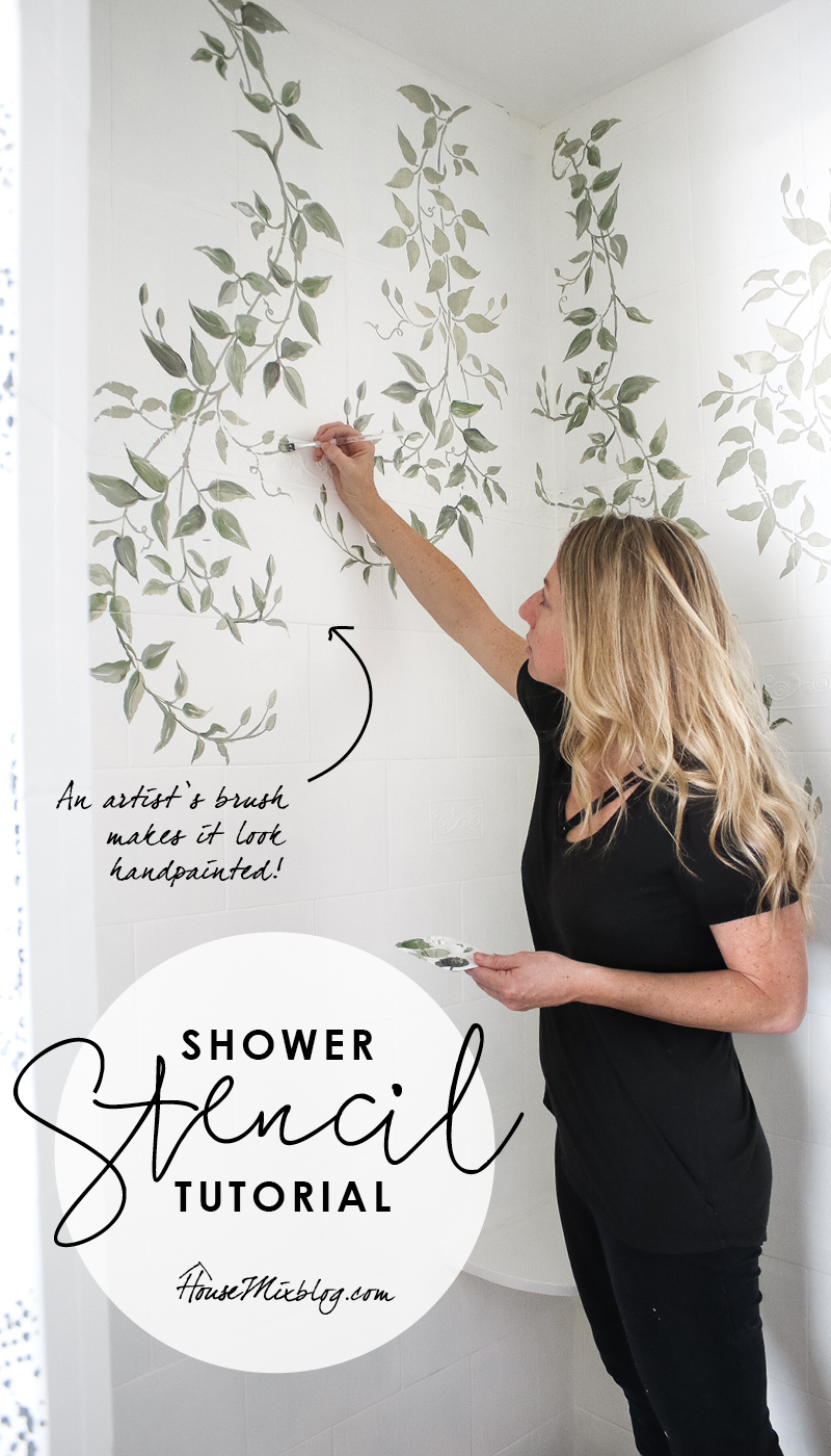 How to stencil on tile - painting bathroom tile - leaves and vines stencil handpainted overtop