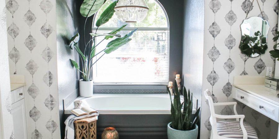 Painting bathroom tile - how to paint tile floors, grout, shower, plastic bathtub panel and backsplash - Kendall Charcoal paint