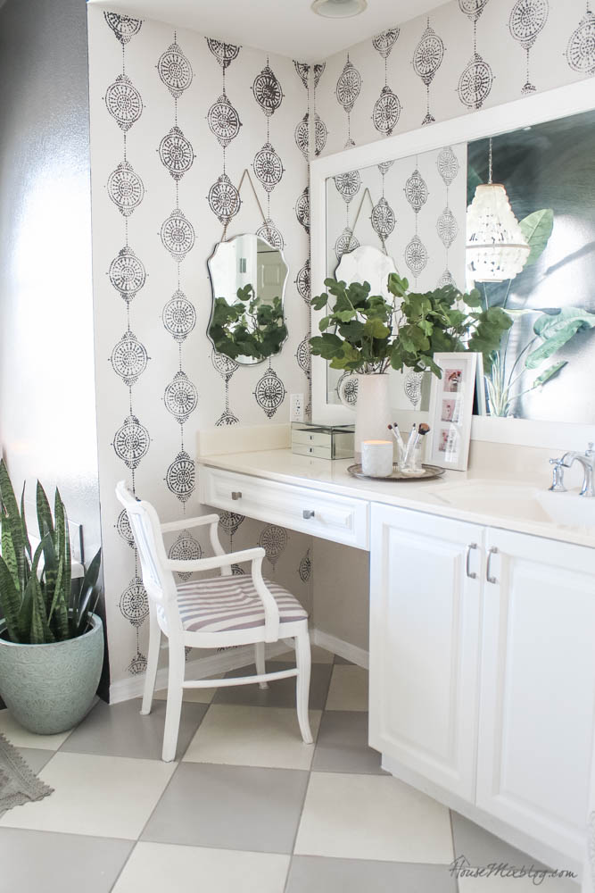 Painting bathroom tile - how to paint tile floors, grout, shower, plastic bathtub panel and backsplash - Kendall Charcoal paint
