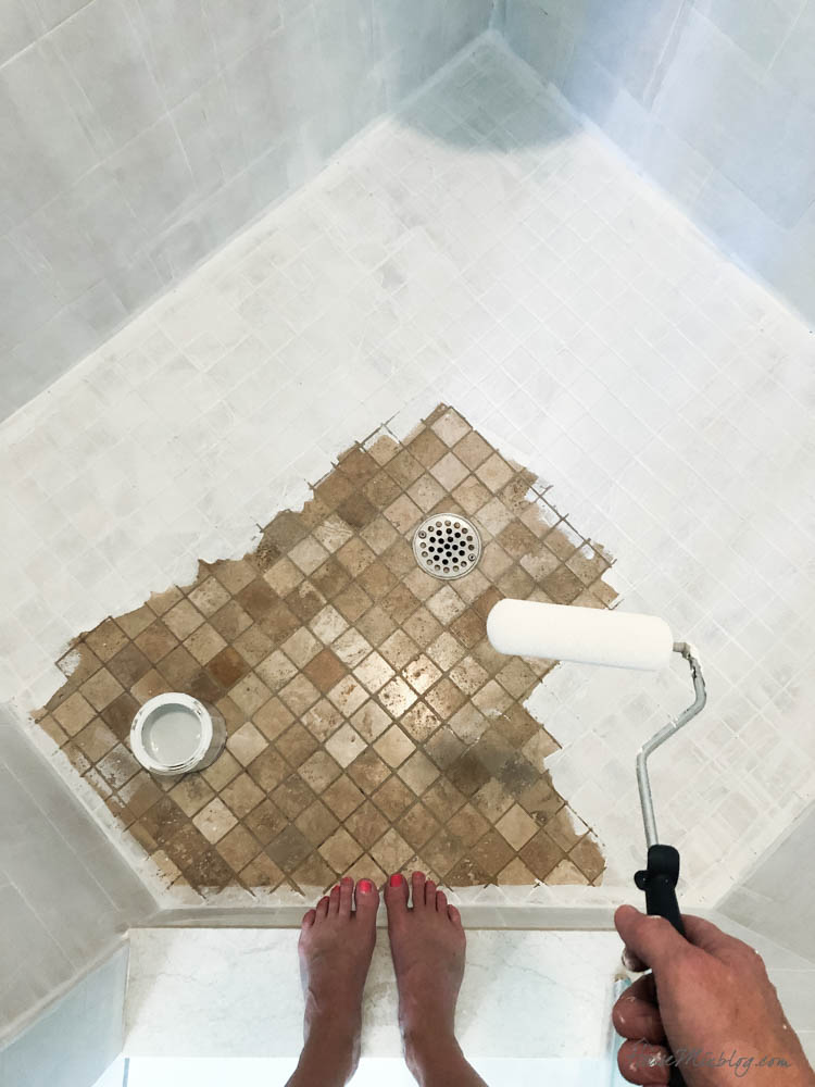 Painting shower tile - floors and walls with bonding primer and oil base enamel