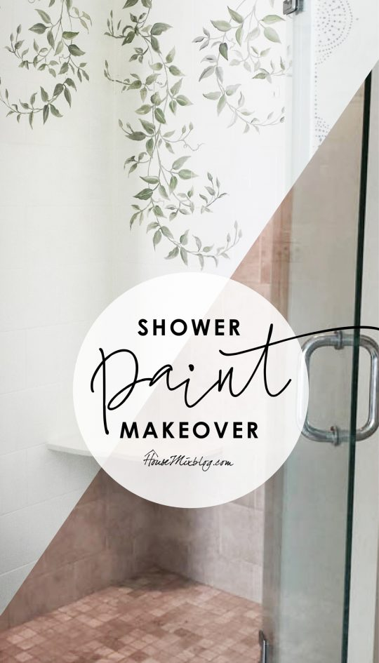 Shower makeover with paint - how to paint shower tile with bonding primer and oil base enamel - stencil shower tile leaves