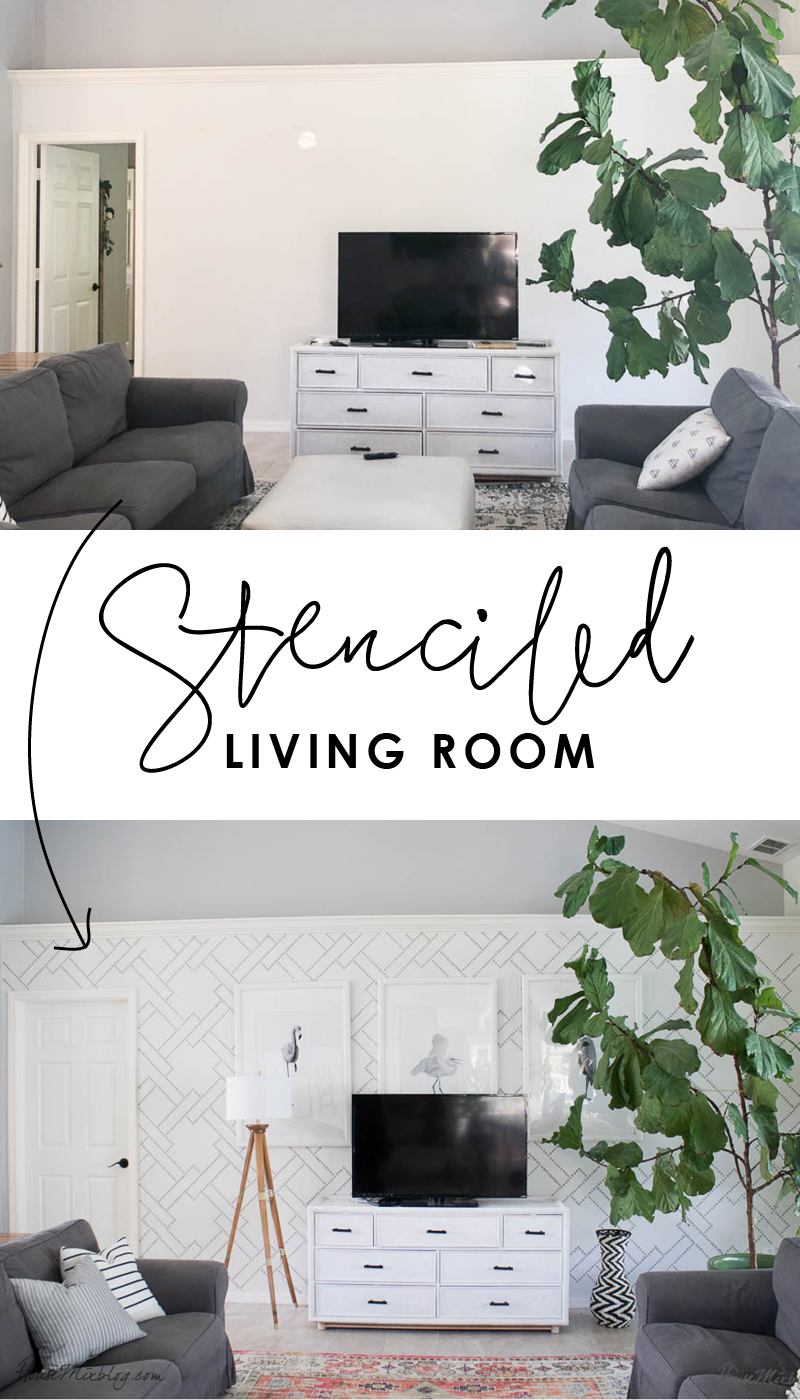 Stenciled living room - wallpaper alternative, Light French Gray, how to stencil, white walls, gray couches, colorful rug, big fiddle leaf fig tree, wooden accent table, living room decor ideas, ektorp ikea