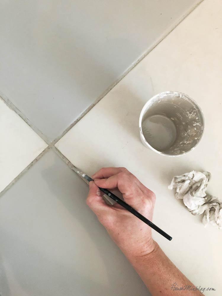 How to paint bathroom tile floor grout dark gray