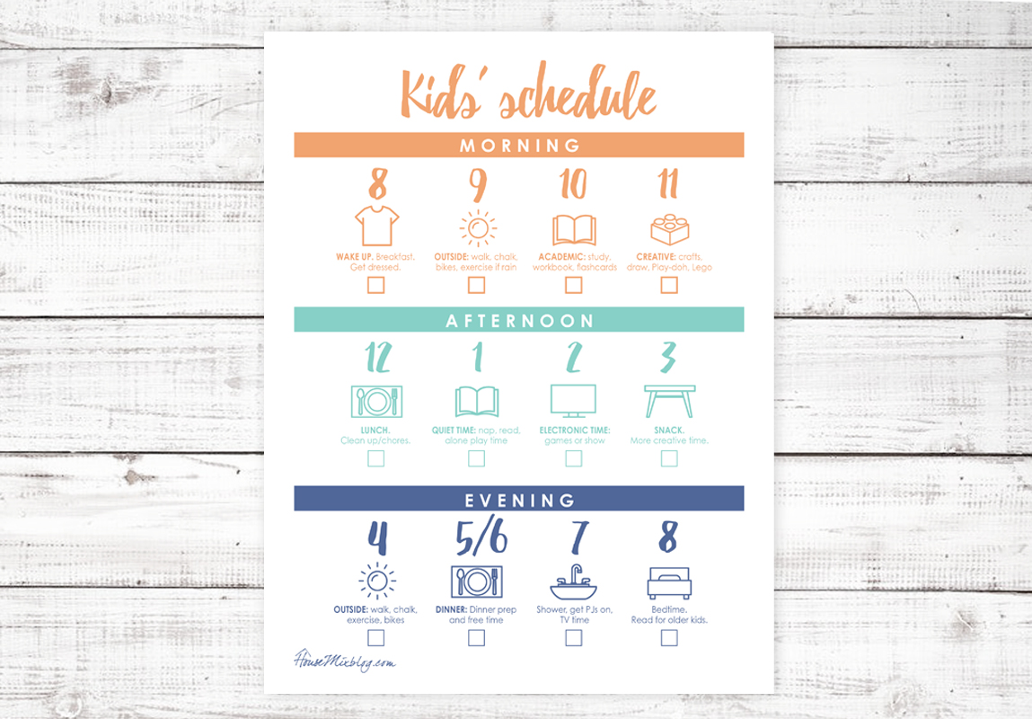 Kids stay at home schedule by hour printable - with checklist - summer, homeschool, SAHM, coronavirus quarantine