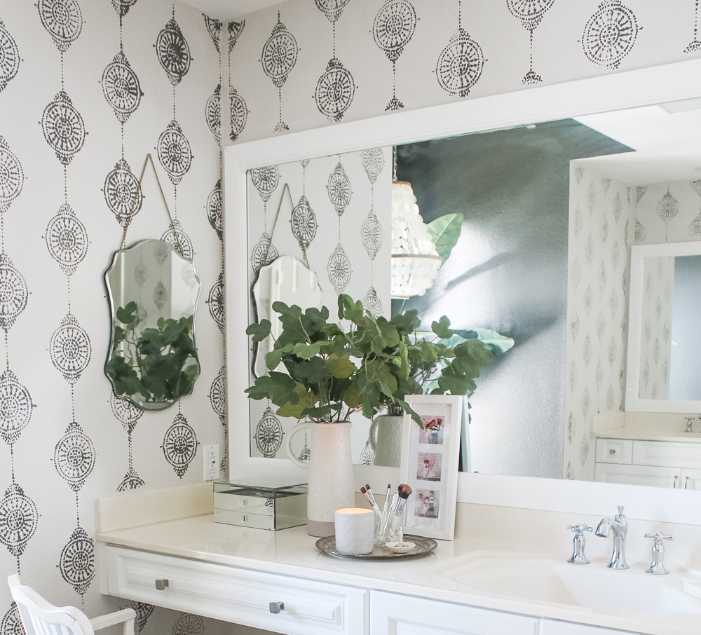 The easiest way to frame a bathroom mirror