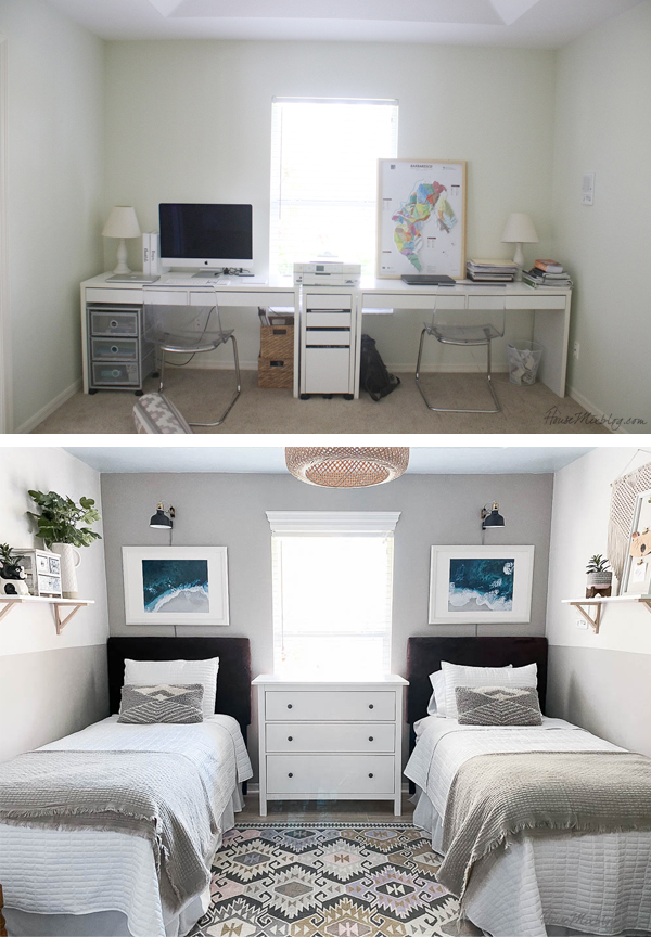 home office turned guest bedroom - before and after