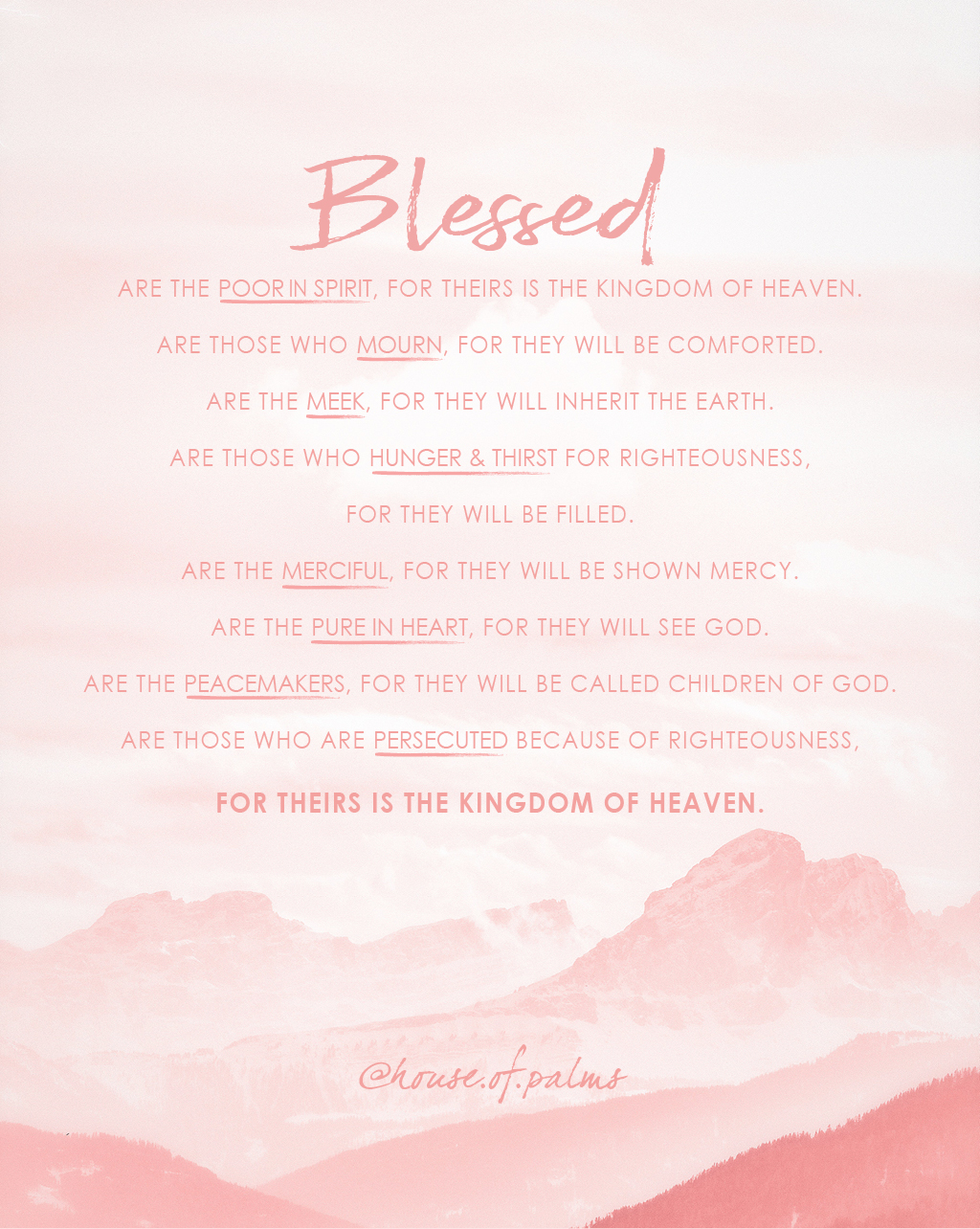 Beatitudes - Matthew 5 - Sermon on the Mount - blessed are the poor in spirit