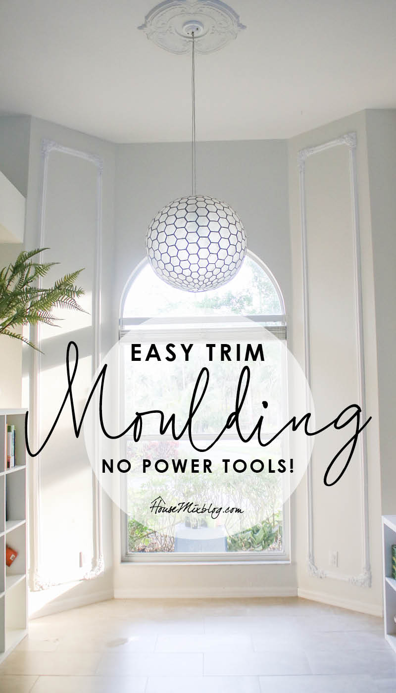 Easy trim moulding with no power tools - urethane corners and trim pieces - DIY crown moulding