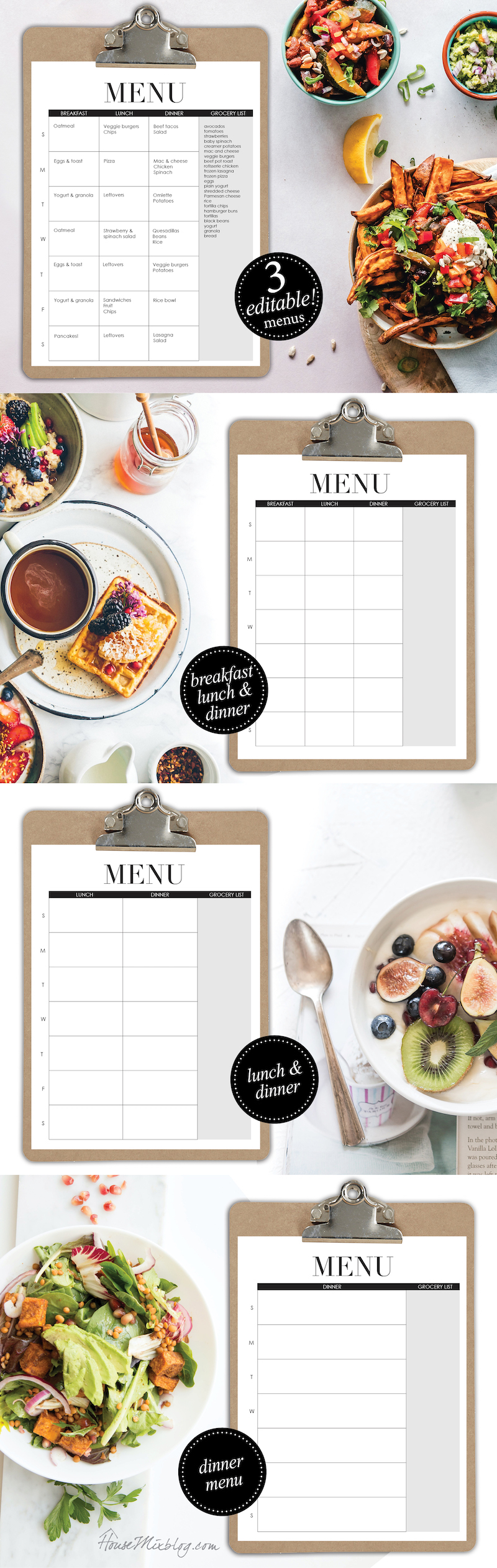 Editable menus - meal planner - breakfast lunch dinner - housemixblog.com