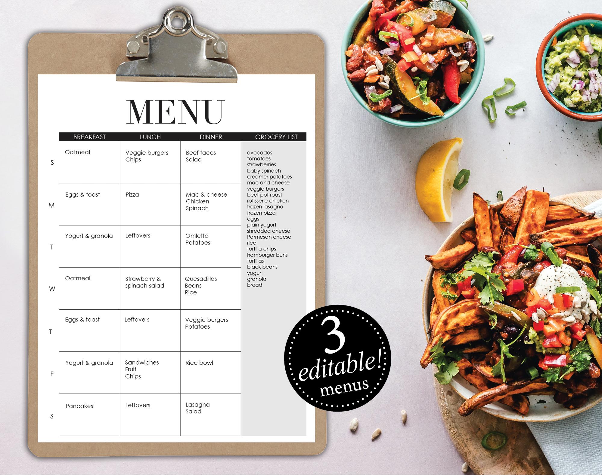 Editable menus - meal planner - breakfast lunch dinner