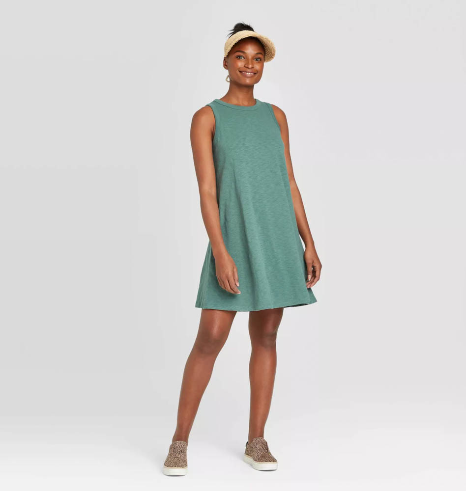 Target summer wardrobe capsule in green, white and gray - tshirt tank dress
