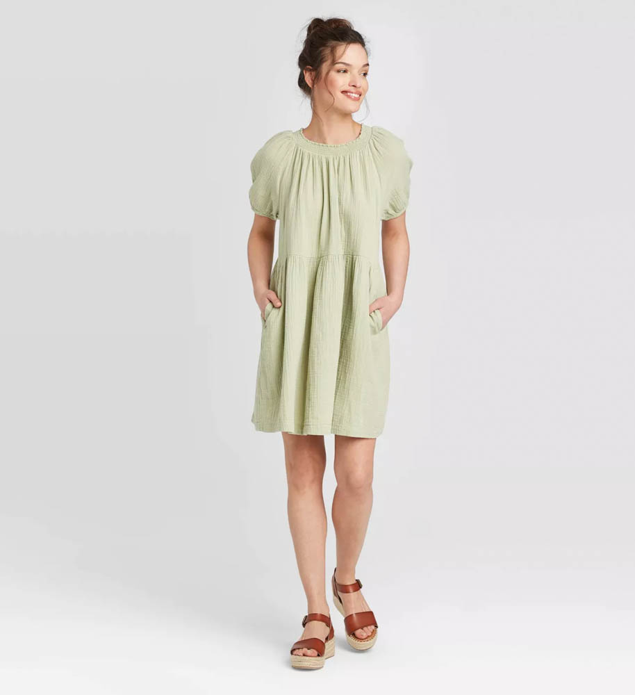 Target summer wardrobe capsule in green, white and gray - sage gauze cotton dress