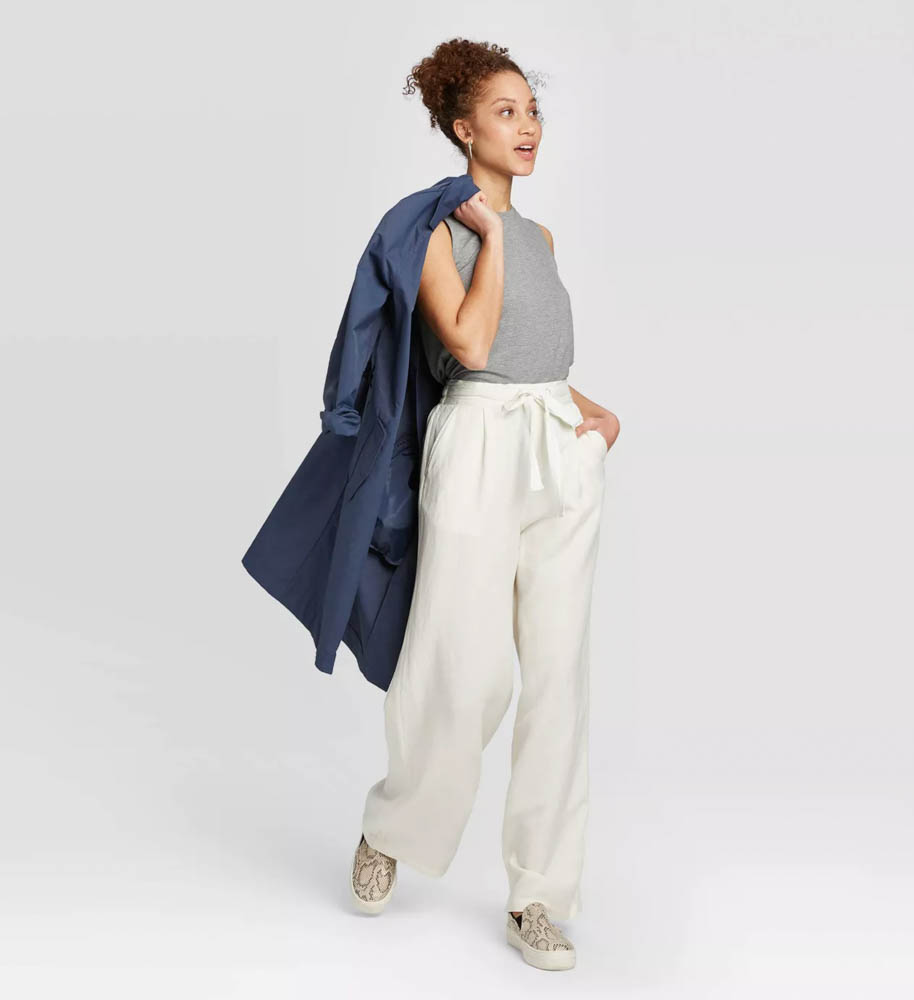 Target summer wardrobe capsule in green, white and gray - cream linen pants