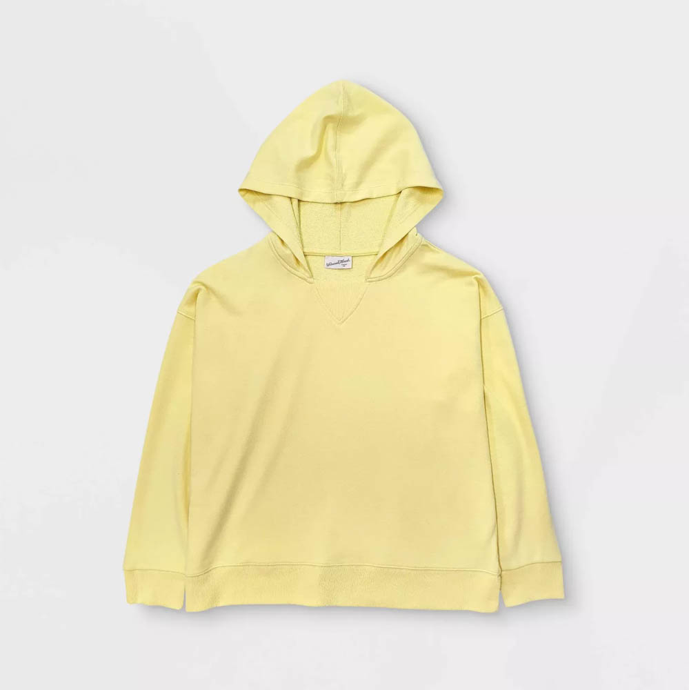 Target summer wardrobe capsule in green, white and gray- pale yellow hoodie