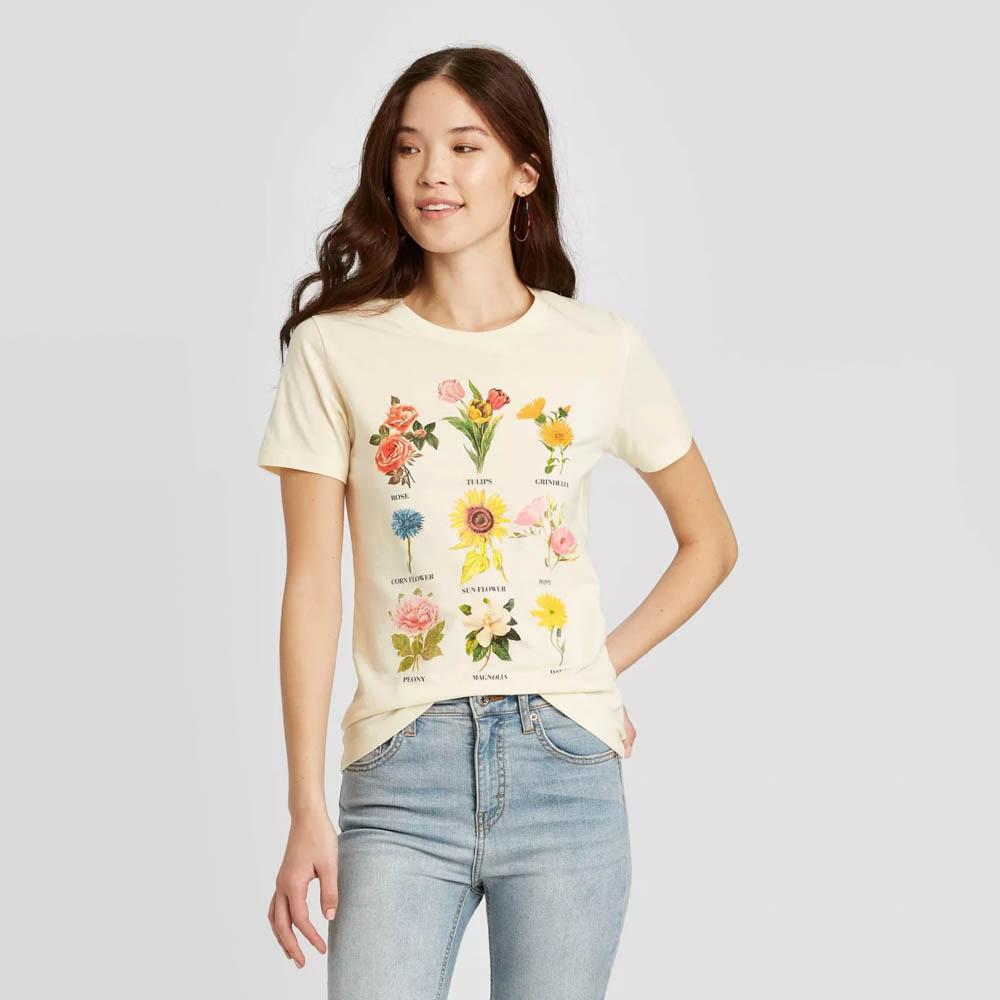 Target summer wardrobe capsule in green, white and gray - garden tee