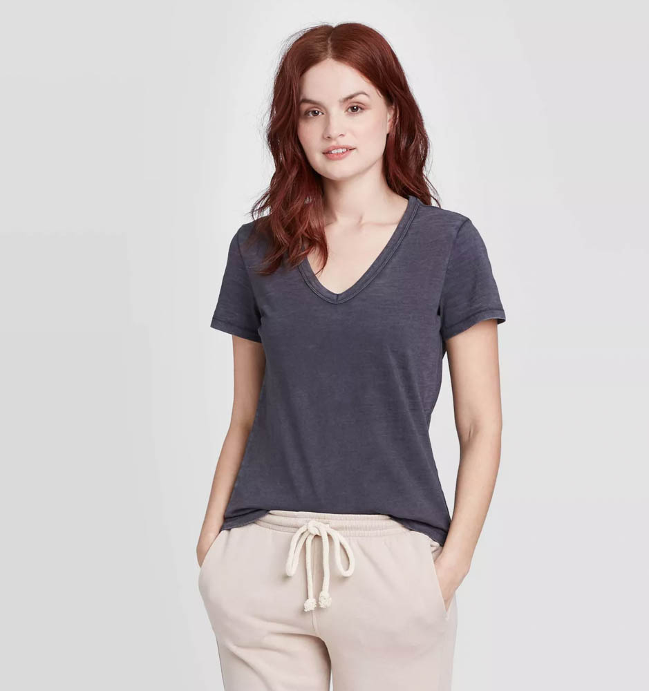 Target summer wardrobe capsule in green, white and gray - charcoal v-neck tee