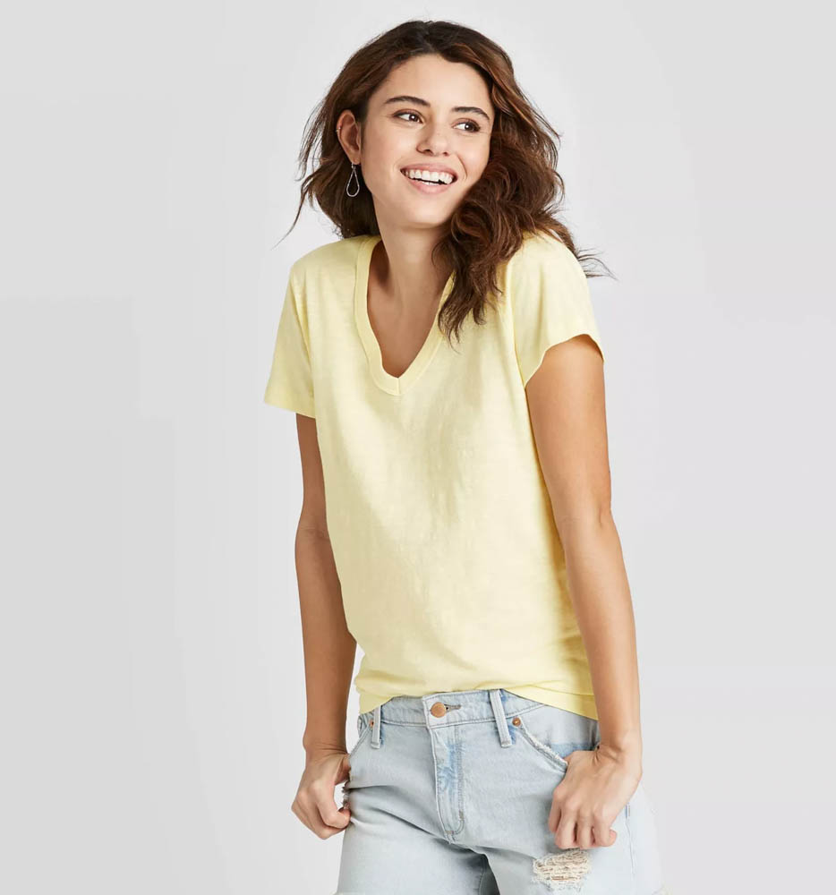 Target summer wardrobe capsule in green, white and gray - pale yellow tee