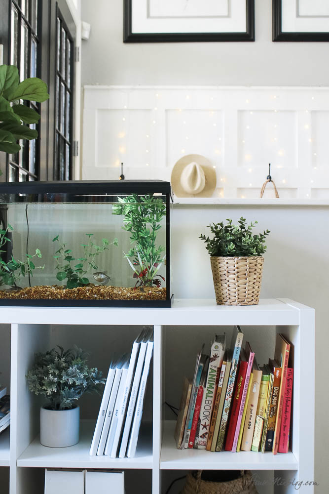 White reading nook with moulding and Ikea bookshelves - library with bookcases and plants - fish tank
