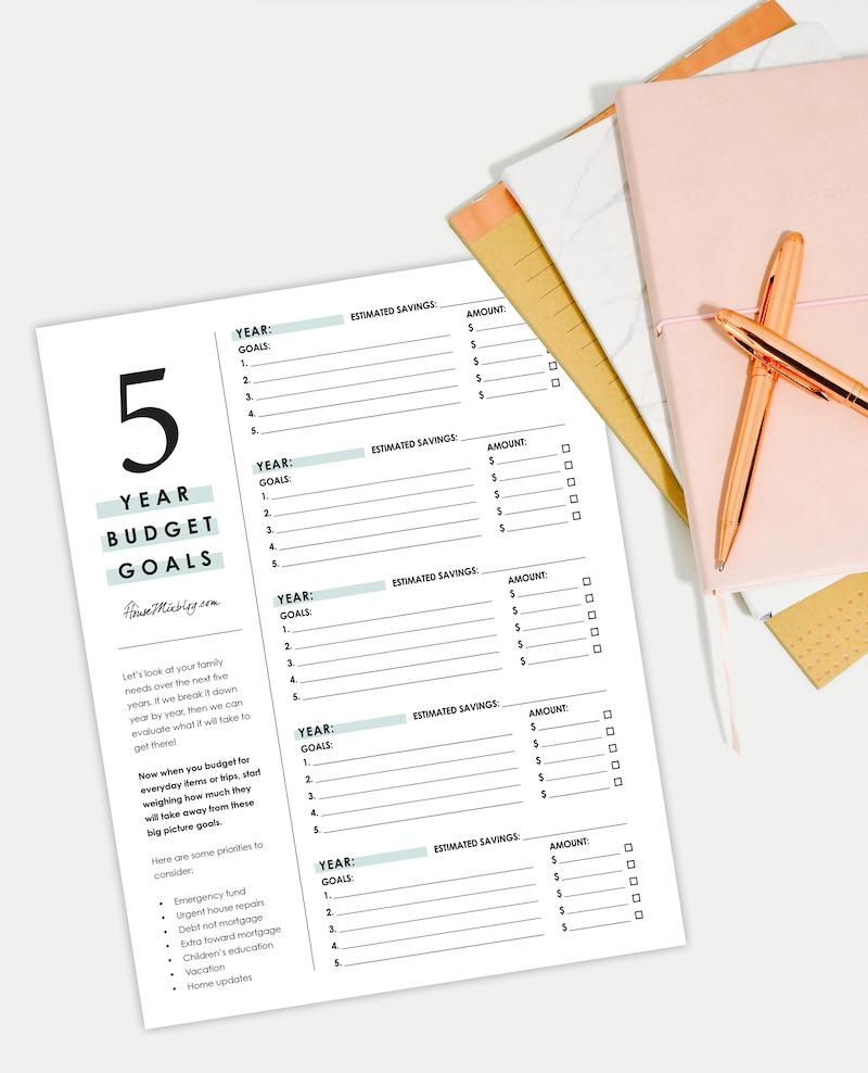 5 year budget goal planner printable
