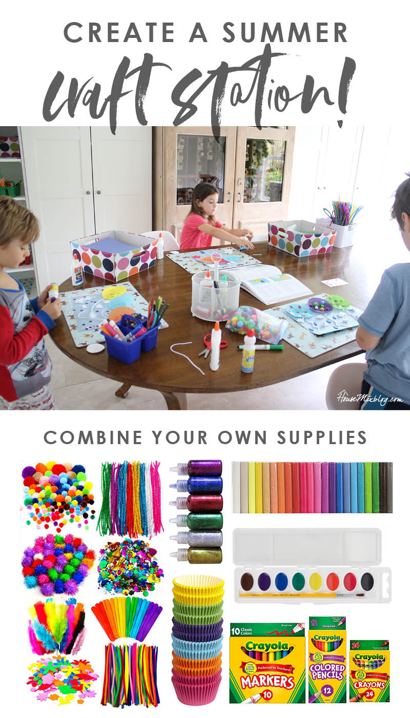 Craft station for kids - summer kid activities - craft supply list and ideas