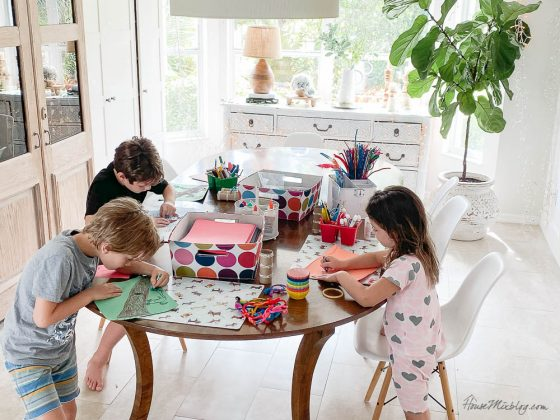 Kids summer crafting station
