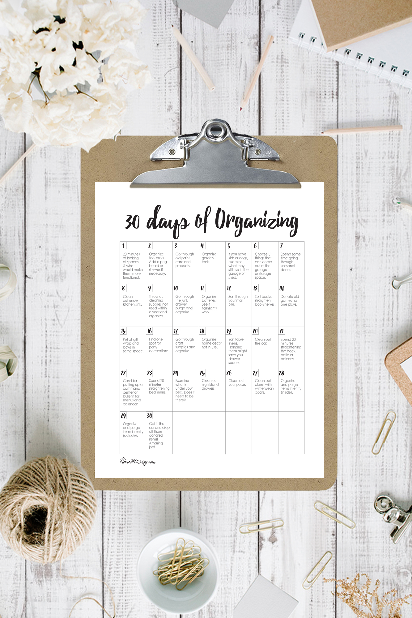 Ultimate organize house planner printables - 1 month of organizing - 30 day calendar for organization