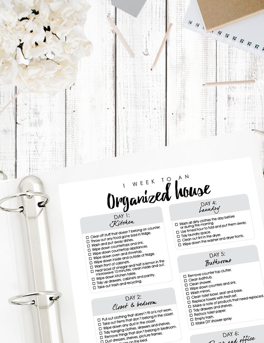 Ultimate organize house planner printables - one week to an organized house