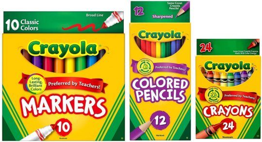 markers colored pencils and crayons