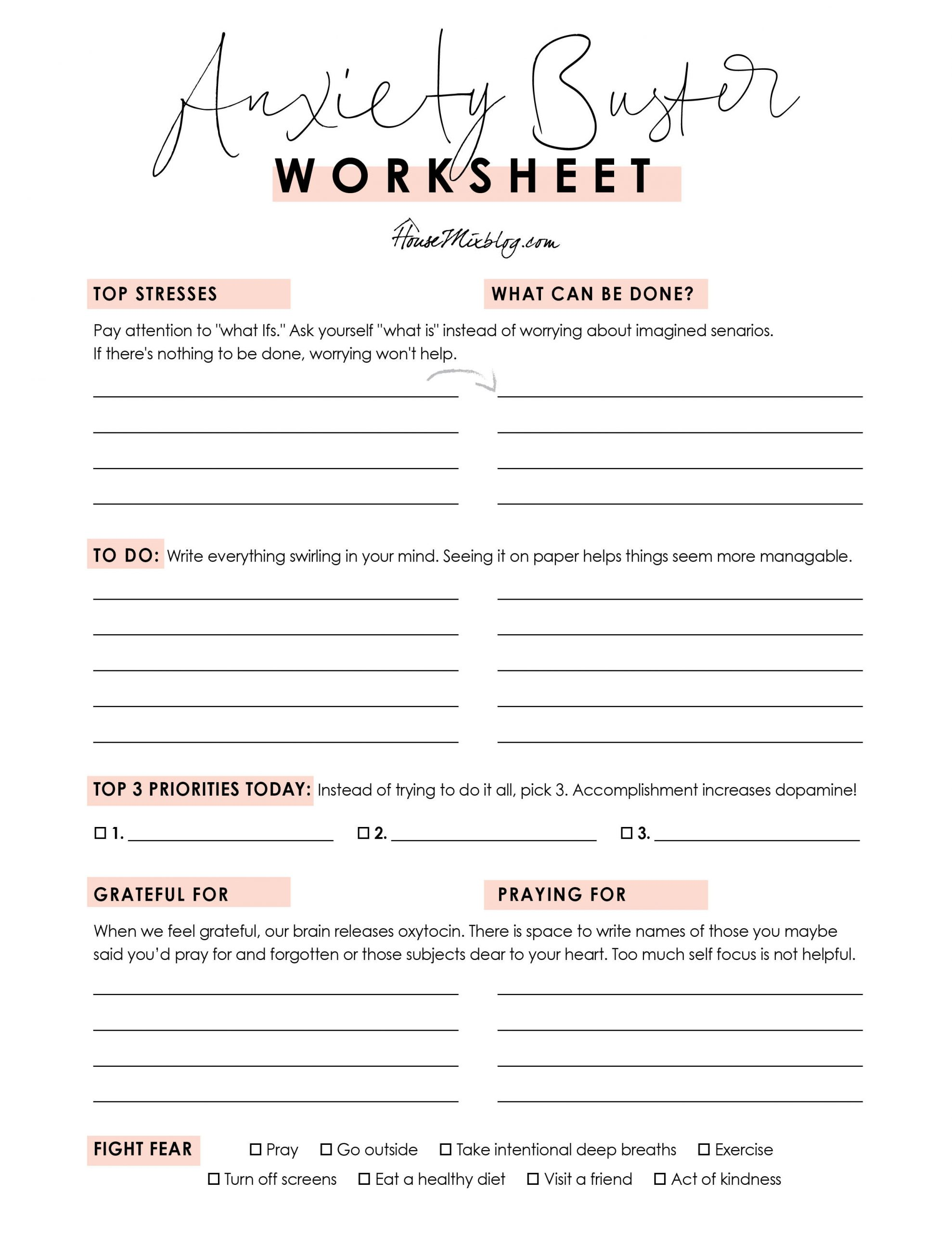 Anxiety buster worksheet - Free printable to help with stress and fear