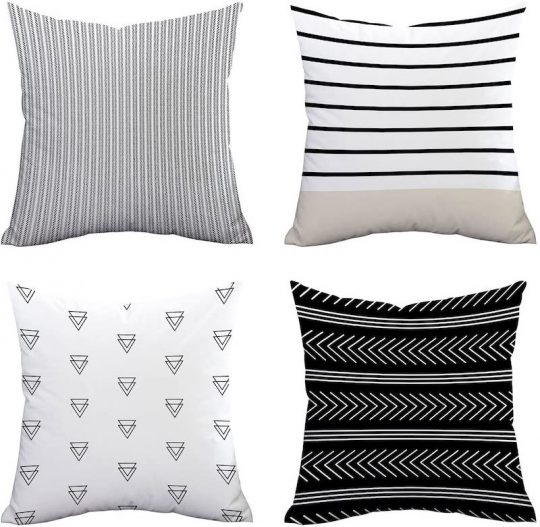 Black and white patterns pillow set