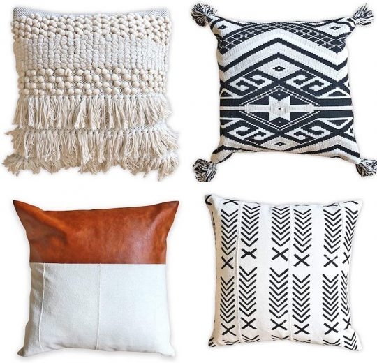 Boho pillow set - tribal, macrame, leather