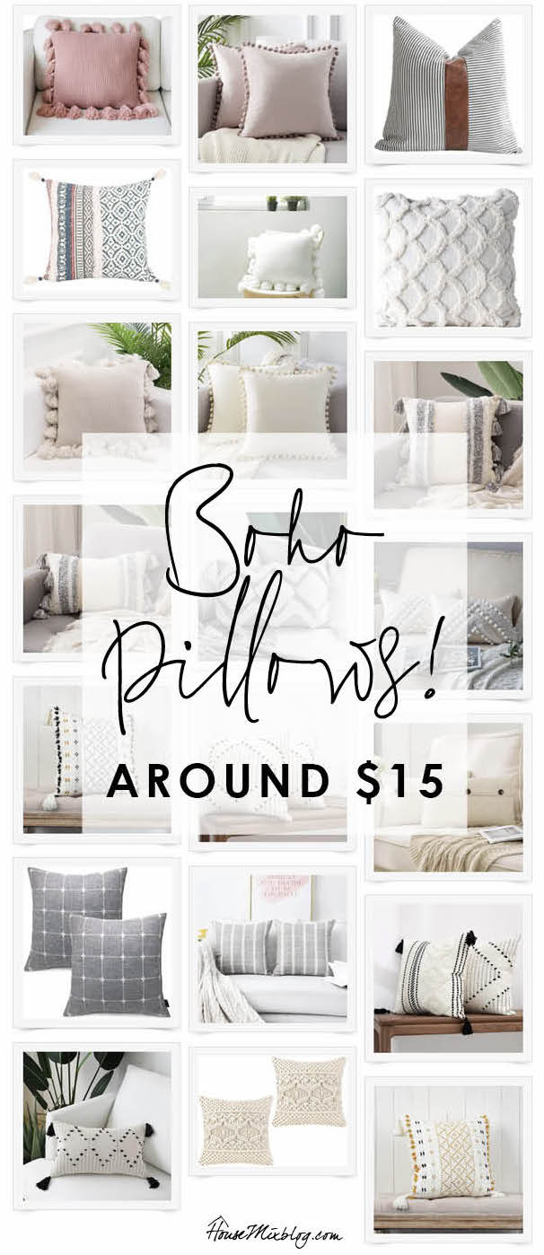Affordable boho pillow roundup - around $15 each!