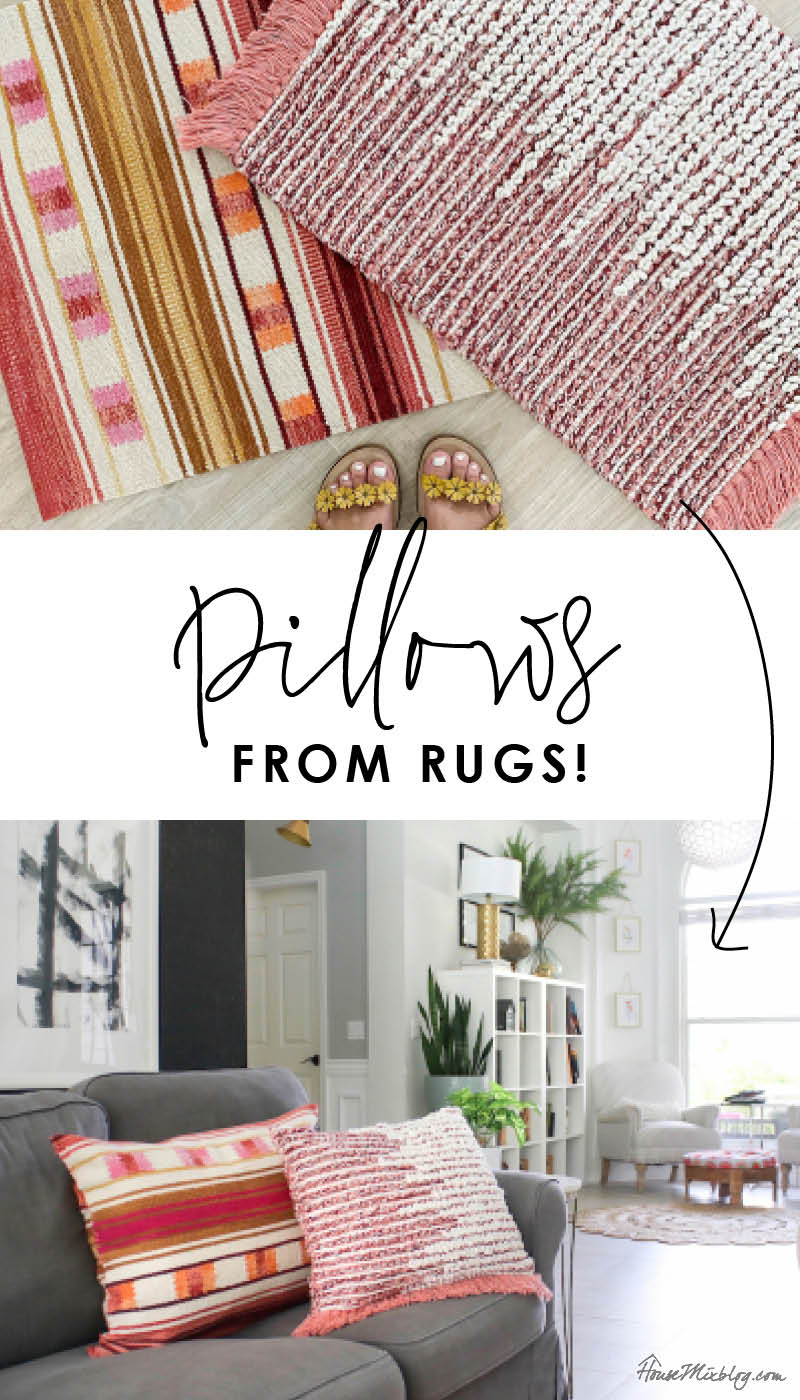 DIY rug pillow tutorial